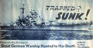 Avisforside med nyheden at Bismarck er sænket