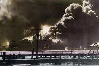 Eksplosionen af det amerikanske skib USS Shaw ved Pearl Harbor