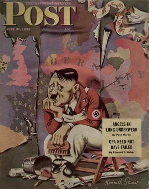 magasin forside fra 1943, med Hitler foran et tysk verdenskort