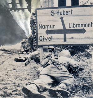Byskilt fra slaget om Bulge