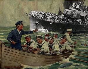 Robåd samler nødstedte fra et sænket Dunkirk skib op