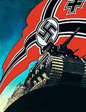 Plakat med tyske tanks på kolonne foran flag