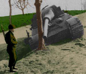 Soldat bevogter en beskadiget Jagdtiger