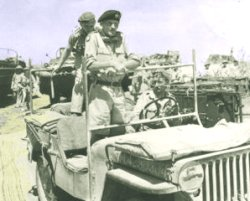 Bernard Montgomery i en jeep