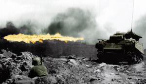 Sherman tank - med flammekaster ved Iwo Jima
