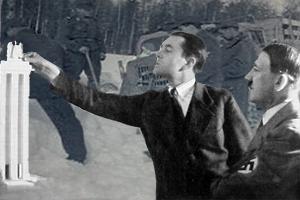 Speer arbejder på en model, med Hitler som tilskuer