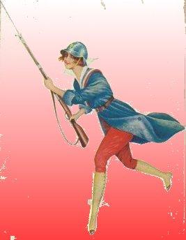 Fransk kvinde i fransk militærtøj.