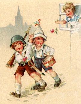 Tysk tegning med søde små tyske soldater