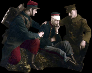 Engelsk og fransk soldat passer såret soldat