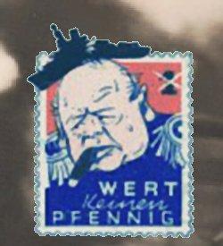 Tysk satire med Churchills hoved
