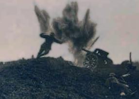 Et billede fra slagmarken under 1. Verdenskrig