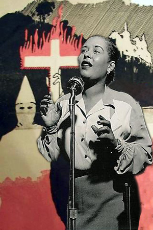 Billie Holieday foran en Ku Klux Klan tegning